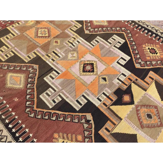Large Brown Turkish Kilim Runner For Sale In Raleigh - Image 6 of 11