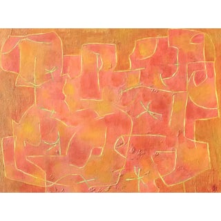 Red Wall Mid-Century Modern Abstract Oil Painting by James Bone 1964 For Sale