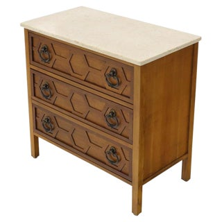 Mid-Century Modern Marble Travertine Top 3 Decor Drawers Bachelor Chest Dresser For Sale