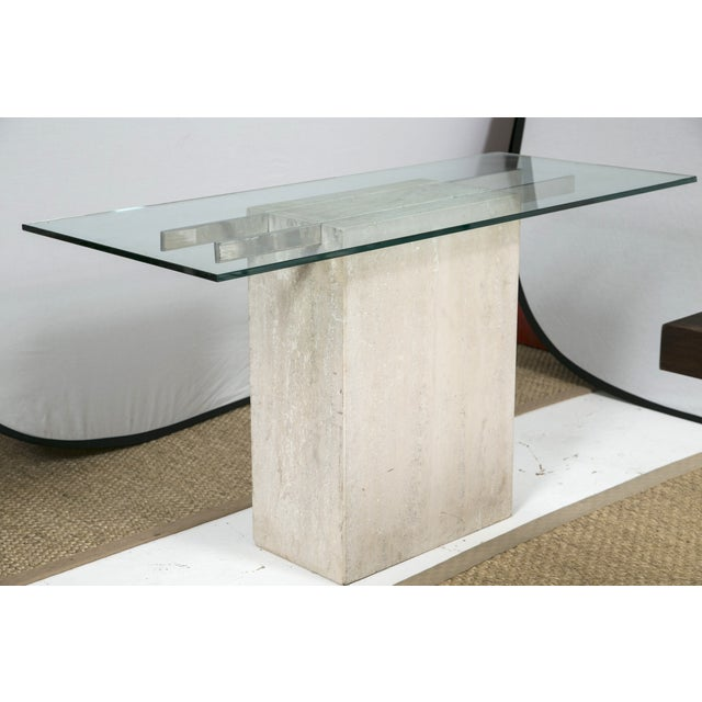 Travertine and Chrome Console Table by Ello - Image 3 of 9