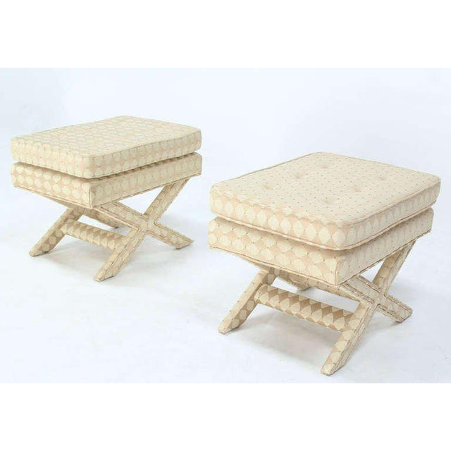 Textile Pair of Mid-Century Modern X-Base Billy Baldwin Benches For Sale - Image 7 of 10