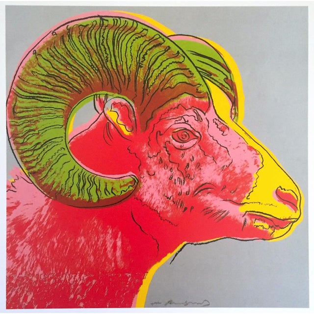 "Green Andy Warhol Estate Rare Vintage 1992 Endangered Species Collector's Lithograph Print "" Bighorn Ram "" 1983 For Sale - Image 8 of 9"