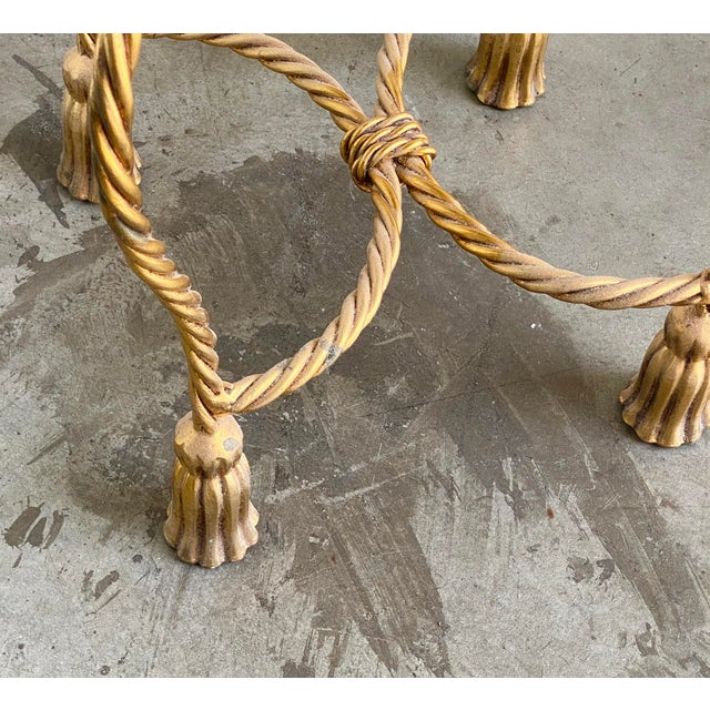 Twisted Brass Tassel Vanity Stool For Sale - Image 4 of 6