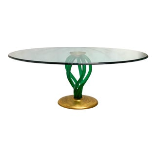 Mid-Century Modern Lucite and Gilt Glass Dining Table For Sale