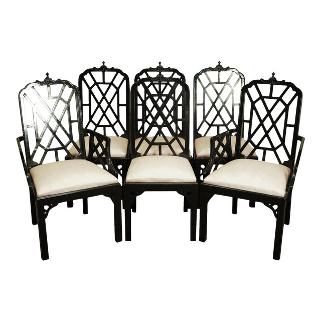 Hollywood Regency Chinoiserie Pagoda Dining Chairs - Set of 6 For Sale