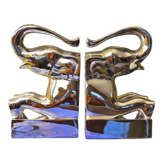 Large Chrome Sculpture Elephants, Mid Century