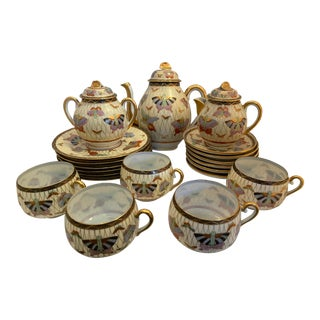 Vintage 1950s Japanese Butterfly Tea Set - 20 Piece Set For Sale