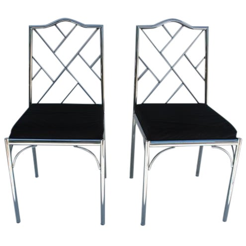 Vintage Chrome Dining Chairs - Pair - Image 1 of 7