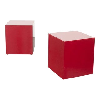 Modern Red Lacquer Wood Cube Side Tables - a Pair For Sale