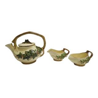 Antique 1940s McCoy Ivy Pottery Tea Set - 3 Piece Set For Sale