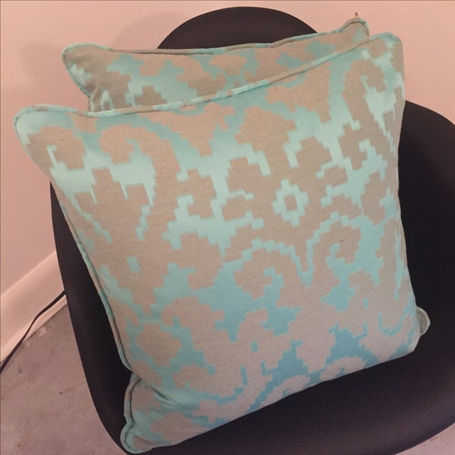 Geometric Turquoise Throw Pillows - Pair For Sale - Image 4 of 5