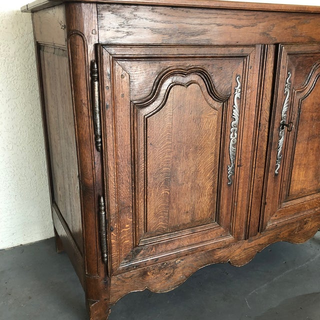 Wood French Early 19th Century Louis XV Oak Buffet From Normandy For Sale - Image 7 of 13