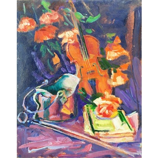 'Still Life With Roses and a Violin' For Sale