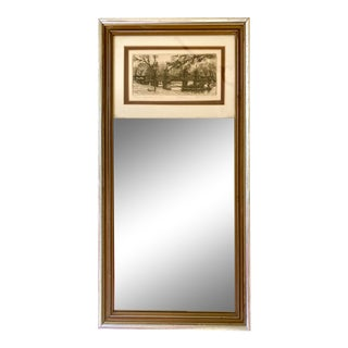 Gilt Mirror With Mounted Leonard H. Mersky Etching of Boston For Sale