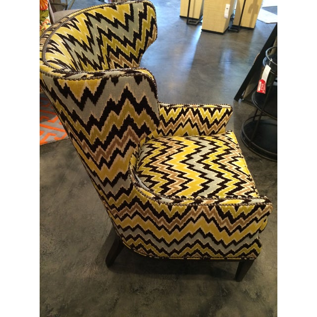 Kenneth Ludwig Chicago Flame Stitch Upholstered Club Chair For Sale - Image 4 of 7