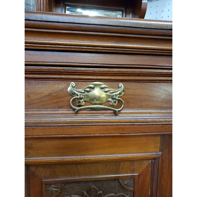 Brown Early 20th Century Antique Hutch With Beveled Mirrors For Sale - Image 8 of 12