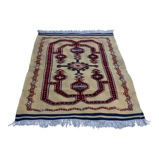 Turkish Vintage Hand Knotted Geometric Rug 4 X 6 Ft For Sale