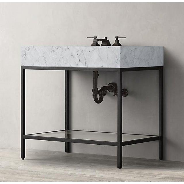 Beautiful Restoration Hardware Hudson aged steel metal single sink bathroom vanity with Italian Carrara marble countertop,...