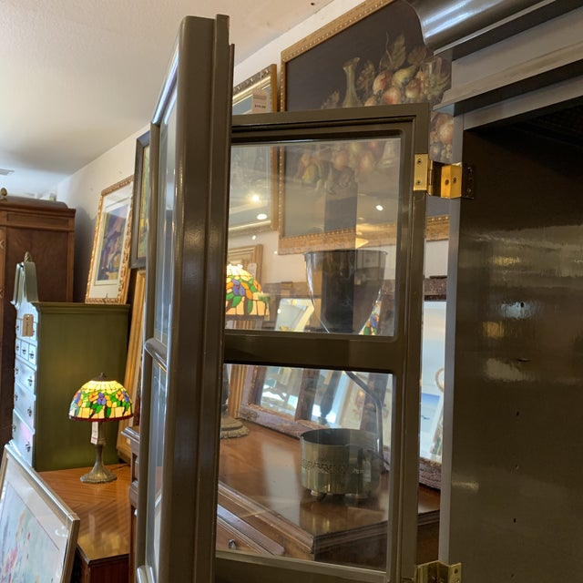 Custom Large Gray Lacquered Lighted Display Cabinet For Sale - Image 4 of 12