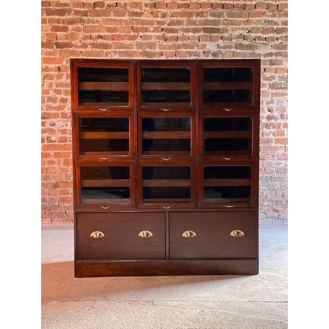 Industrial Haberdashery Drapers Shop Display Cabinet Mahogany Loft Style, circa 1940 For Sale - Image 3 of 11