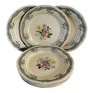 Vintage Cottage Style Floral Dinner Plates - Set of 8