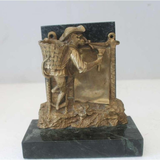 Pair of Bronze Monkey and Green Marble Bookends For Sale - Image 9 of 11