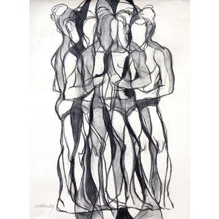 Turn II Charcoal Drawing For Sale