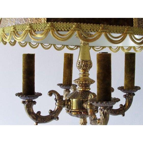 Fabric French Brass & Velvet Pendant Light For Sale - Image 7 of 7