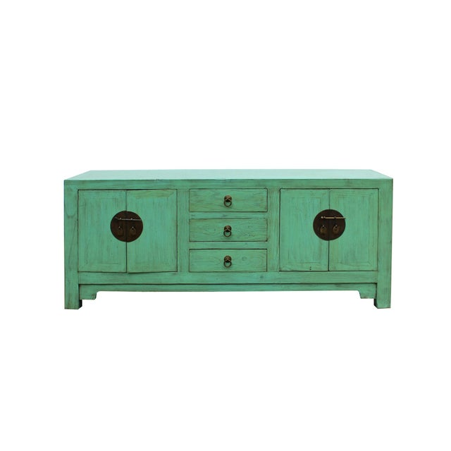 2010s Distressed Teal Blue Wood Pattern Low Console Table Cabinet For Sale - Image 5 of 9