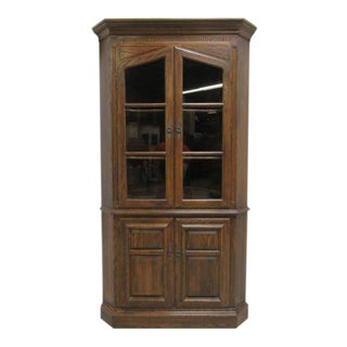 Ethan Allen Royal Charter Jacobean Oak Corner Cabinet Hutch Display Curio For Sale