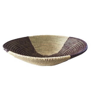 "Handmade Woven Wolof Basket From Senegal 19"" in Diameter For Sale"