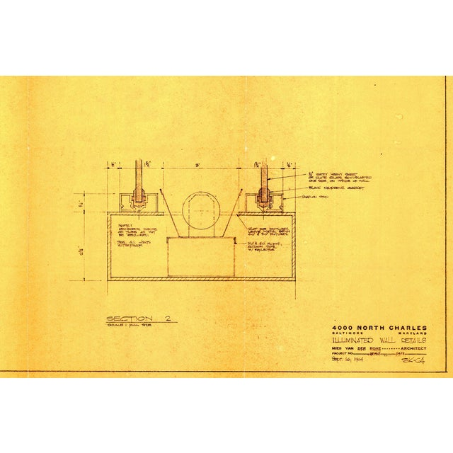 1960s Original Mies Van Der Rohe Blueprint From 1964, Illuminated Wall Details For Sale - Image 5 of 12