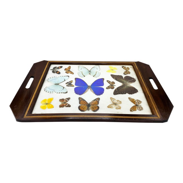 Vintage Mid-Century Large Butterfly Tray, Handmade For Sale