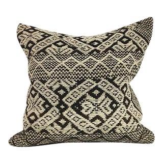 Handwoven Brown Boho Wool Pillow