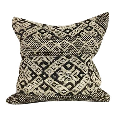 Handwoven Brown Boho Wool Pillow For Sale