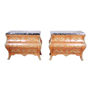 Ornate French Louis XV Style Inlaid Mahogany Marble Top Bombay Chests, Pair For Sale