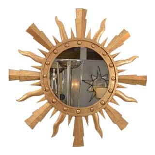 1980s Gilt Metal Sunburst Mirror For Sale
