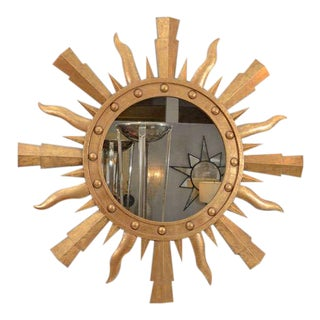 A Gilt Metal Sunburst Mirror