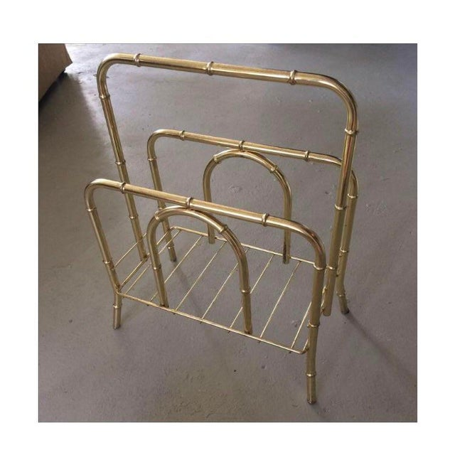 Vintage brass plated bamboo magazine holder. Has some light scratches, and plating missing but still in good vintage...
