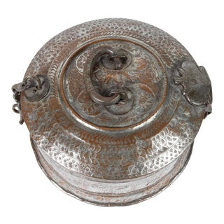 Large Decorative Round Bronze Box With Lid For Sale
