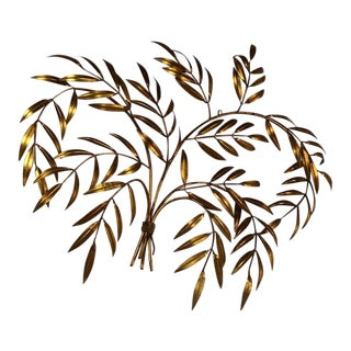 Italian Gilt Metal Wall Sculpture of Branches with Leaves Mid Century Hollywood Regency For Sale