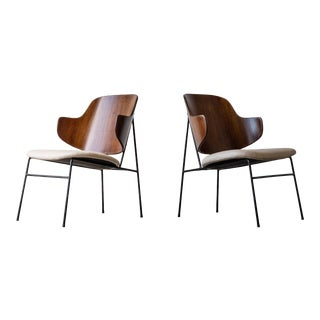 1950s Mid Century Modern Ib Kofod Larsen for Selig Penguin Chairs - a Pair For Sale