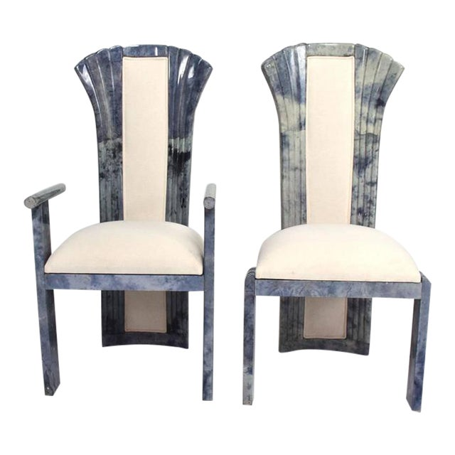 For your consideration a set of ten dining chairs in goatskin/parchment in grey tone. Chairs have the original upholstery...