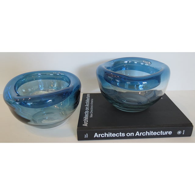 Blue Art Glass Bowls - A Pair - Image 8 of 9