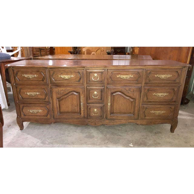 Davis Cabinet Company Triple French Provincial Umberwood Dresser For Sale - Image 13 of 13