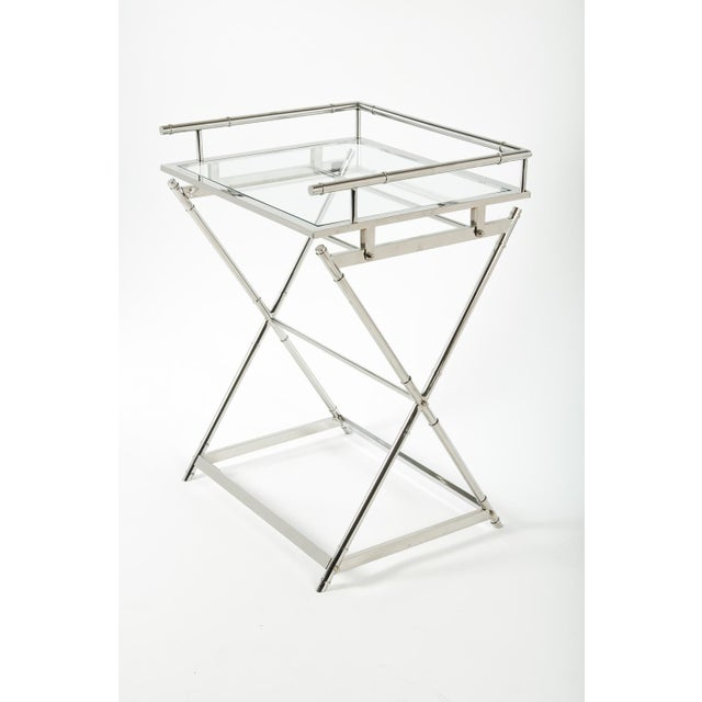 Mid-Century Glass Top Bar Cart For Sale - Image 4 of 5