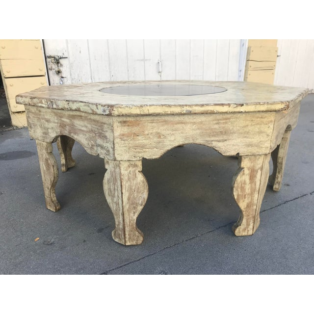 Moroccan Distressed Wood Octagonal Coffee Table For Sale - Image 9 of 13