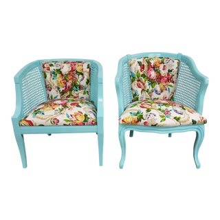 Mid-Century Blue Floral Chairs - A Pair For Sale