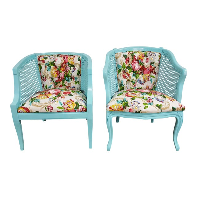 Mid-Century Blue Floral Chairs - A Pair - Image 1 of 10