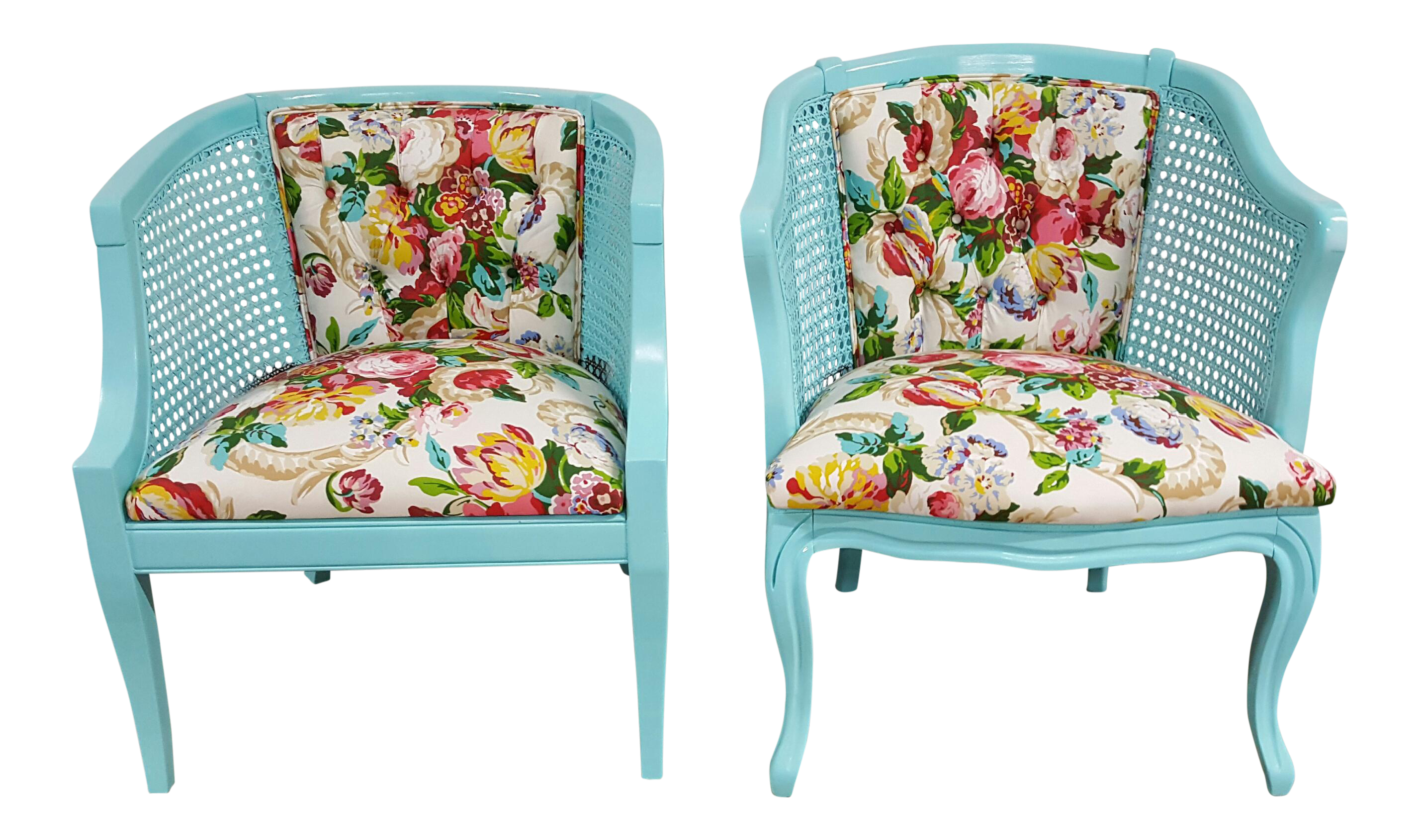Mid Century Blue Floral Chairs   A Pair